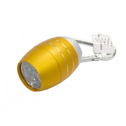 Aluminium Gold Oval Shaped LED 6 Keychain Flashlight