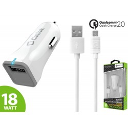 Cellet Ultra-Compact 18 Watt Micro USB Car Charger with Qualcomm Certified Quick Charge 2.0 Technology