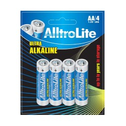 AA Battery Pack of 4 AlltroLite Ultra Power Alkaline 1.5V LR6