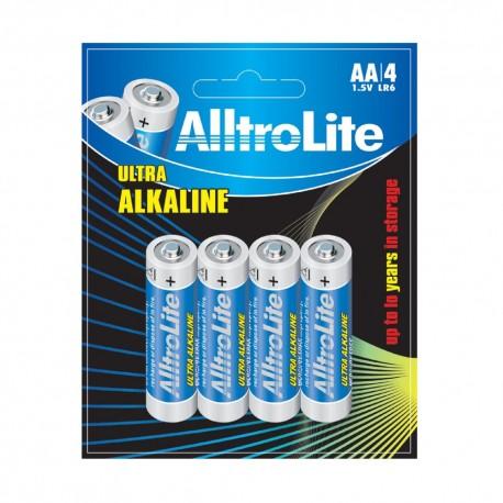 AlltroLite Ultra Power Alkaline 1.5V LR6 AA Battery Pack of 4