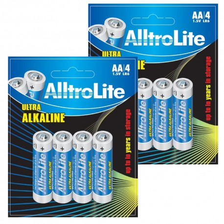 AlltroLite Ultra Power Alkaline 1.5V LR6 AA Battery Pack of 8