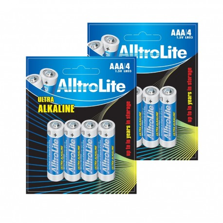 AlltroLite Ultra Power Alkaline 1.5V LR03 AAA Battery Pack of 8