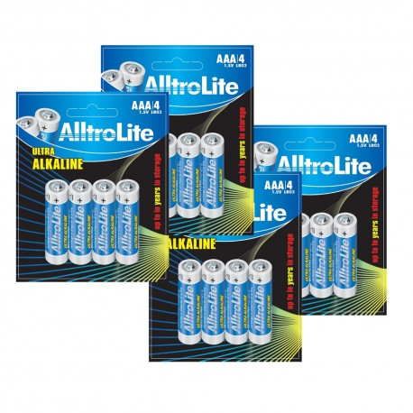 AlltroLite Ultra Power Alkaline 1.5V LR03 AAA Battery Pack of 16