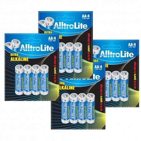 AlltroLite Ultra Power Alkaline 1.5V LR6 AA Battery Pack of 16