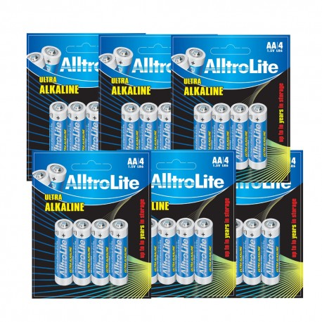 AlltroLite Ultra Power Alkaline 1.5V LR6 AA Battery Pack of 24