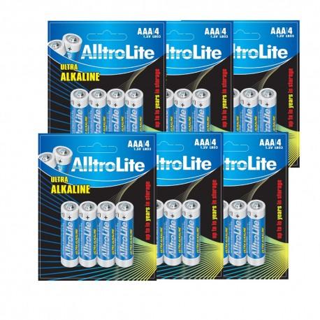 AlltroLite Ultra Power Alkaline 1.5V LR03 AAA Battery Pack of 24
