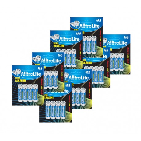 AlltroLite Ultra Power Alkaline 1.5V LR6 AA Battery Pack of 32
