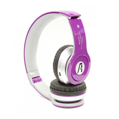 A1-Tech Wireless Bluetooth Stereo Headset with Mic and FM Radio - Purple